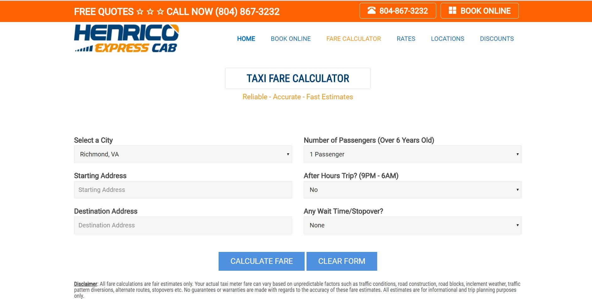 richmond va taxi fare estimator 2018 fast estimates in. Black Bedroom Furniture Sets. Home Design Ideas